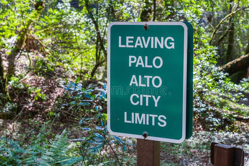 Leaving Palo Alto City Limits sign. Posted on one of the trails, San Francisco bay area, California stock image