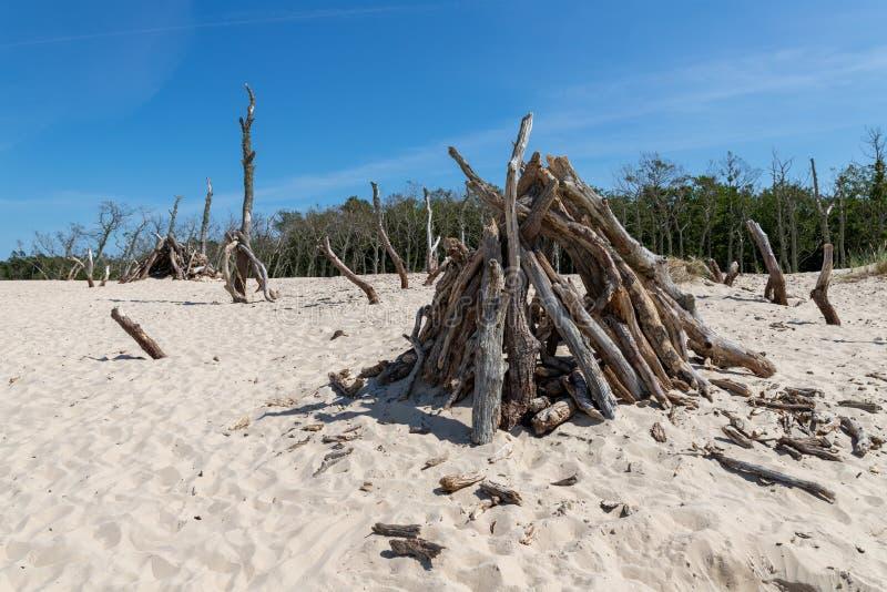 Leba, Pomeranian Voivodeship/Polônia - 14 de julho de 2019: Grandes dunas de areia na Europa Central Um cuspe entre o mar Báltico foto de stock