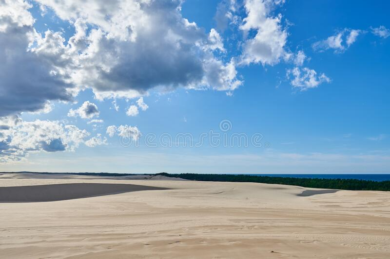 Leba sand dune. Slovinski national park, Leba sand dune on the Baltic coast royalty free stock photos