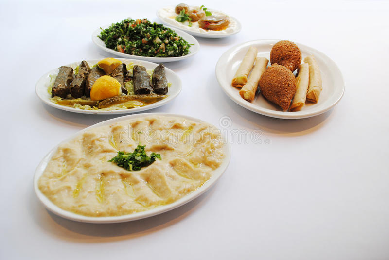 Lebanese food. Many plates of diferentes lebanese food stock photos