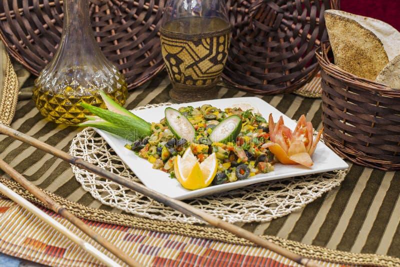 Lebanese salad contains olives, lemon, cucumber and cornArab food stock images