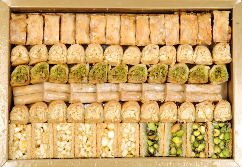 Lebanese sweets. In a box , close up shot royalty free stock images