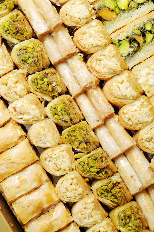 Lebanese sweets. With nuts , close up shot stock photography