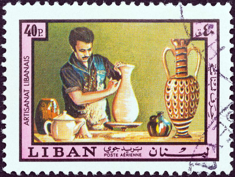 LEBANON - CIRCA 1978: A stamp printed in Lebanon from the `Lebanese Handicrafts` issue shows pottery, circa 1978. LEBANON - CIRCA 1978: A stamp printed in royalty free stock images