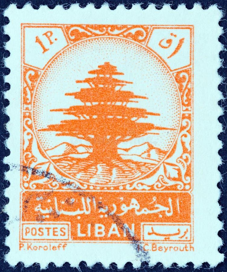 LEBANON - CIRCA 1948: A stamp printed in Lebanon shows Cedar of Lebanon, circa 1948. royalty free stock image