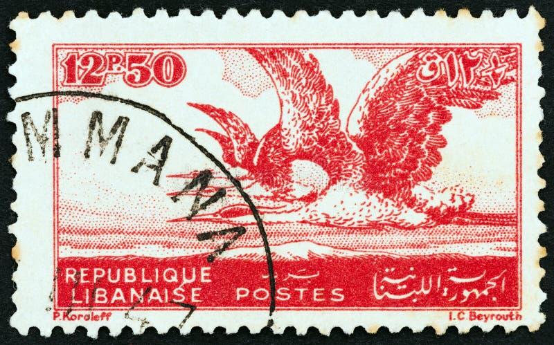 LEBANON - CIRCA 1946: A stamp printed in Lebanon shows Grey Herons, circa 1946. stock image