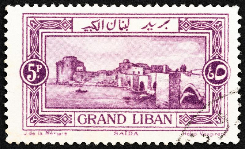 LEBANON - CIRCA 1925: A stamp printed in Lebanon shows Sea Castle, Sidon, circa 1925. stock photo