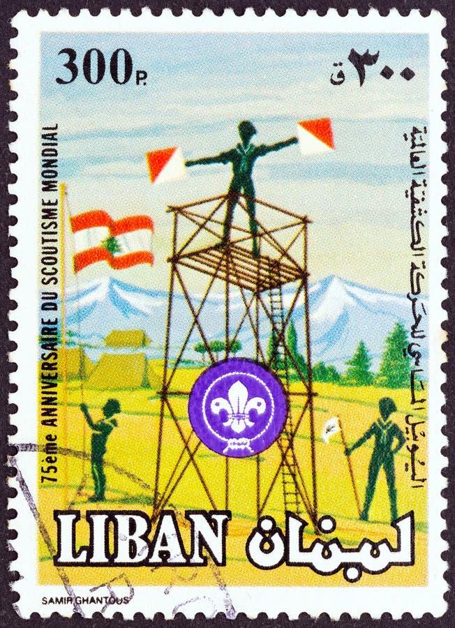 LEBANON - CIRCA 1983: A stamp printed in Lebanon shows Signal tower, circa 1983. stock photo