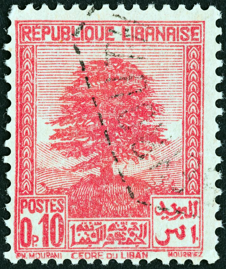 LEBANON - CIRCA 1937: A stamp printed in Lebanon shows Cedar of Lebanon, circa 1937. royalty free stock photo