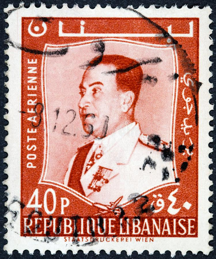 A stamp printed in Lebanon shows a portrait image of Staatsdruckerei Wiev royalty free stock photos