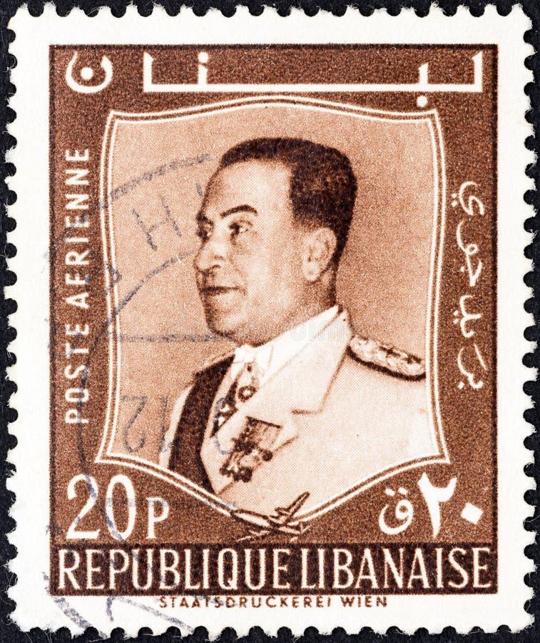 LEBANON - CIRCA 1960: A stamp printed in Lebanon shows President Fuad Chehab, circa 1960. stock photo