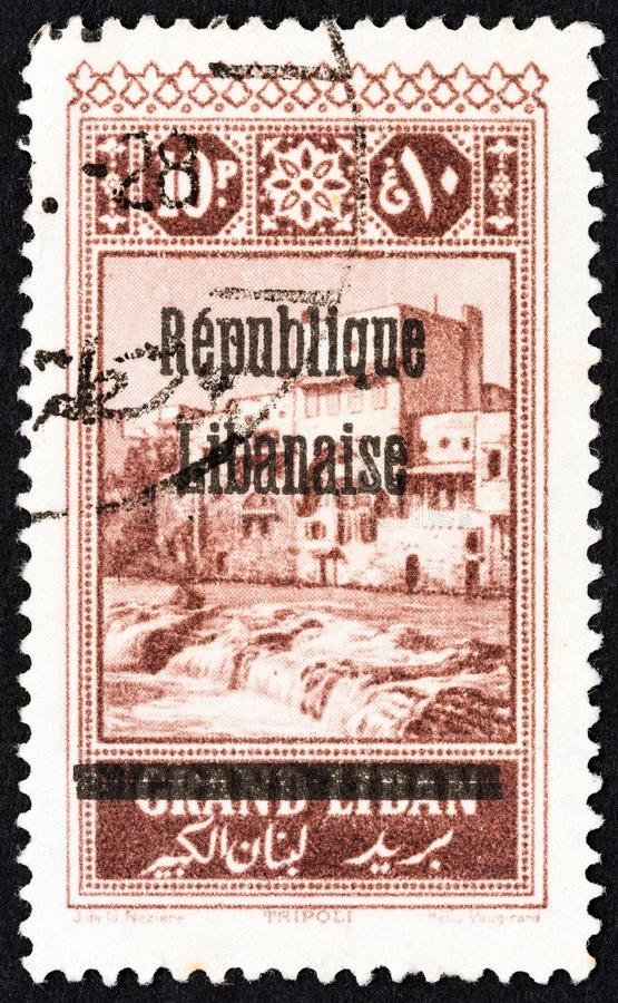 LEBANON - CIRCA 1927: A stamp printed in Lebanon shows Tripoli, circa 1927. royalty free stock images
