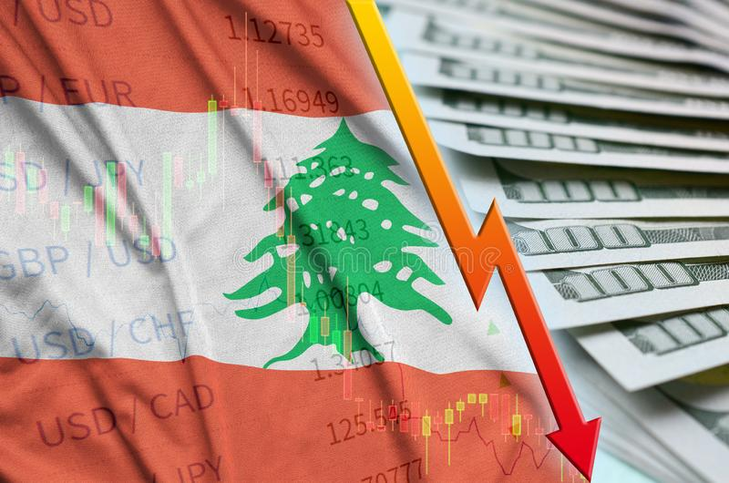 Lebanon flag and chart falling US dollar position with a fan of dollar bills. Concept of depreciation value of US dollar currency stock image