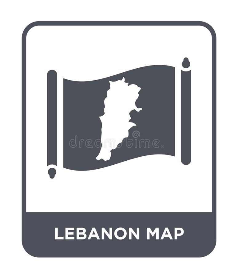 Lebanon map icon in trendy design style. lebanon map icon isolated on white background. lebanon map vector icon simple and modern. Flat symbol for web site stock illustration