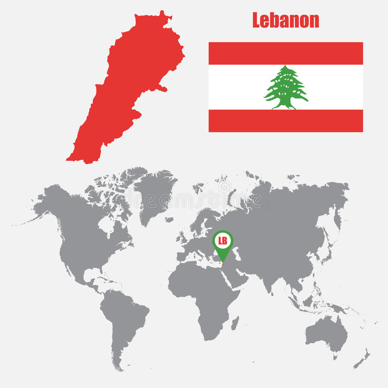 Lebanon Map On A World Map With Flag And Map Pointer Vector
