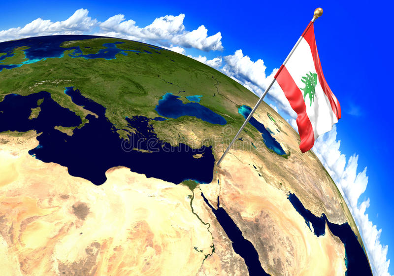 Lebanon national flag marking the country location on world map 3d download lebanon national flag marking the country location on world map 3d rendering stock illustration gumiabroncs Gallery