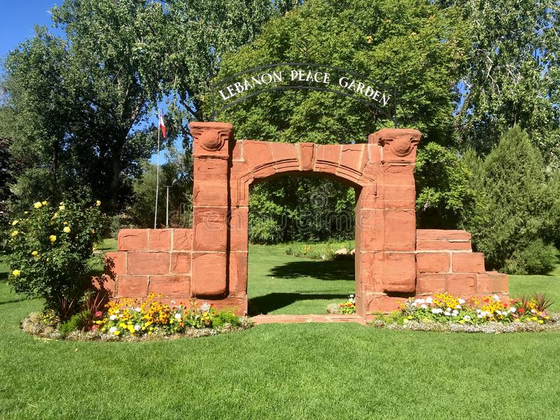 Lebanon Peace Garden, International Peace Gardens. Lebanon Peace Garden. International Peace Gardens, Jordan Park, Salt Lake City, Utah, United States royalty free stock images