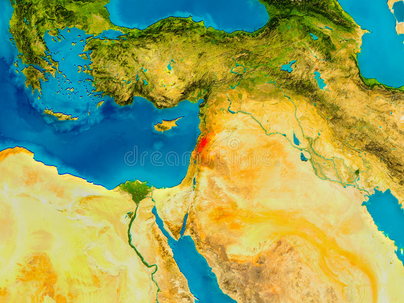 Lebanon on physical map stock illustration Illustration of