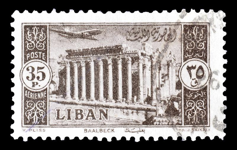 Lebanon on postage stamps stock images
