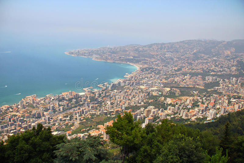 Lebanon sea coast. From the top of Harissa church at jounieh Beirut Lebanon stock photo