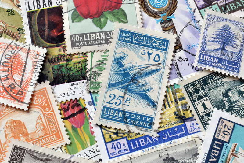 Lebanon on stamps. Cancelled postage stamps printed by Lebanon, that show motives from Lebanon, circa 1900-2010 royalty free stock photo