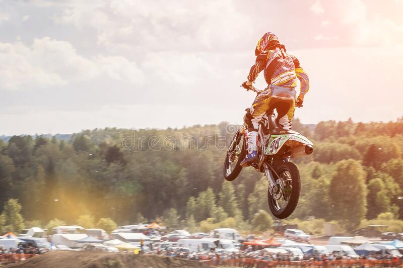 Lebedyanka, Russia - August 25, 2019: Russian Motocross Championship, motorbike and motorcycle races off-road cross-country. athle stock photo