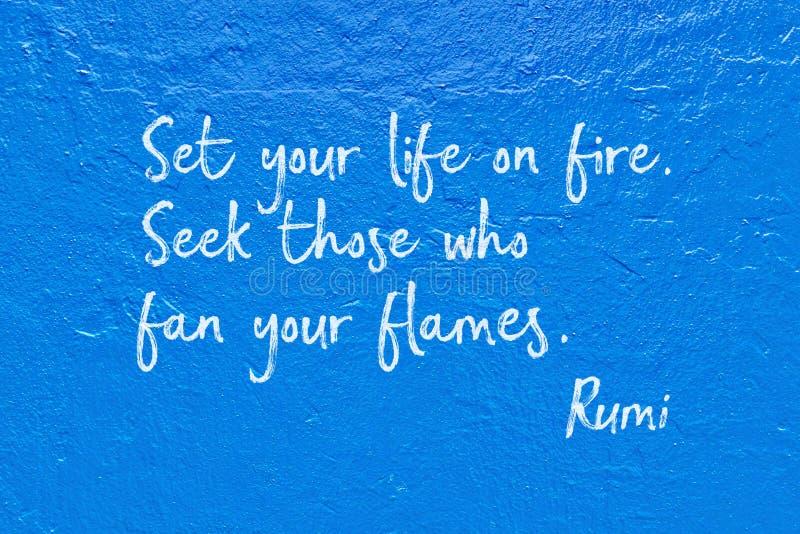 Leben auf Feuer Rumi lizenzfreie stockbilder