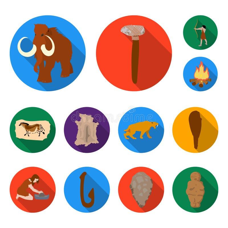 Leben in den flachen Ikonen des Steinzeitalters in der Satzsammlung für Design Vektorsymbolvorrat-Netzillustration der alten Leut lizenzfreie abbildung