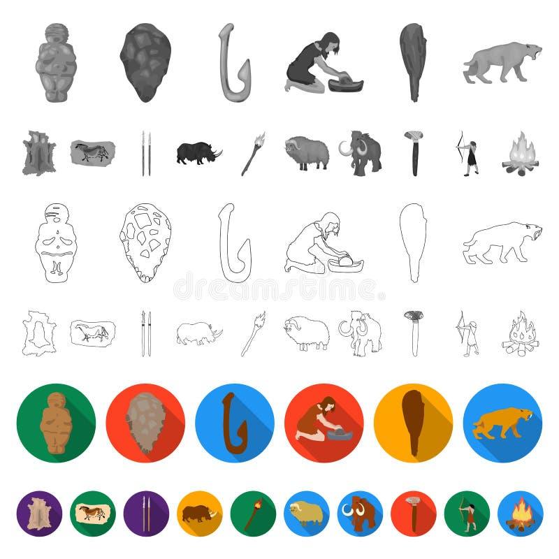 Leben in den flachen Ikonen des Steinzeitalters in der Satzsammlung für Design Vektorsymbolvorrat-Netzillustration der alten Leut vektor abbildung