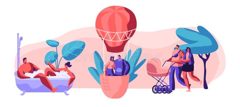 Leben für glücklichen Moment-Satz Mann und Frau nehmen Bad zusammen mit Blase im Badezimmer Junger Liebes-Paar-Fly Air-Ballon im  vektor abbildung