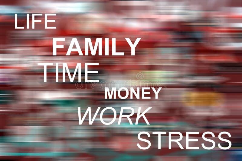 Leben, Familie, Zeit, Geld, Arbeit, Druck vektor abbildung