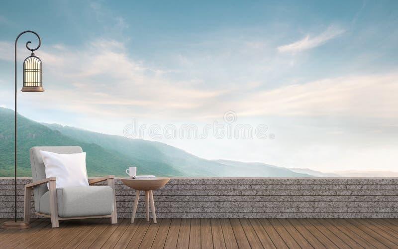 Leben im Freien mit Wiedergabebild des Bergblicks 3d vektor abbildung