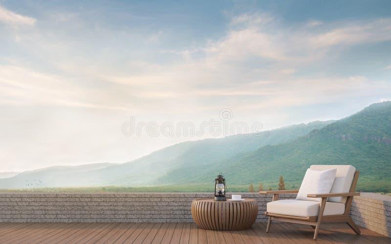 Leben im Freien mit Wiedergabebild des Bergblicks 3d lizenzfreie abbildung