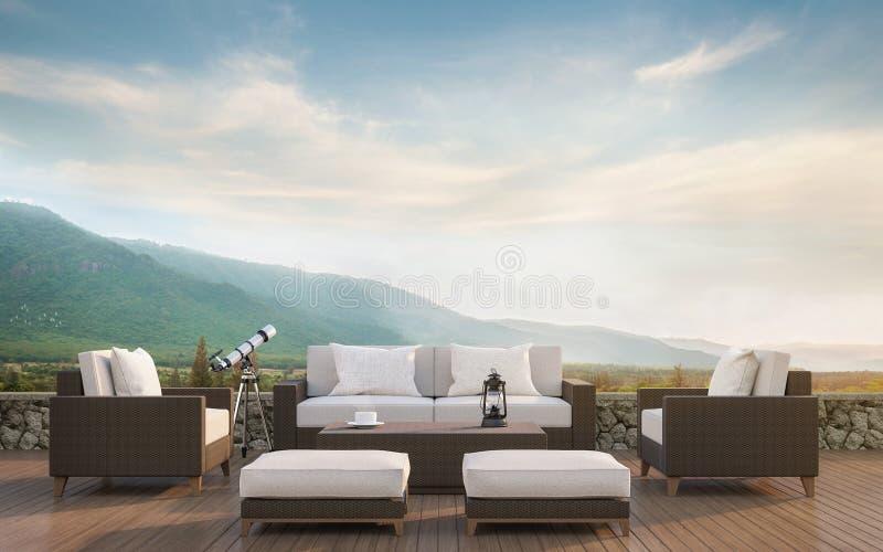 Leben im Freien mit Wiedergabebild des Bergblicks 3d stock abbildung