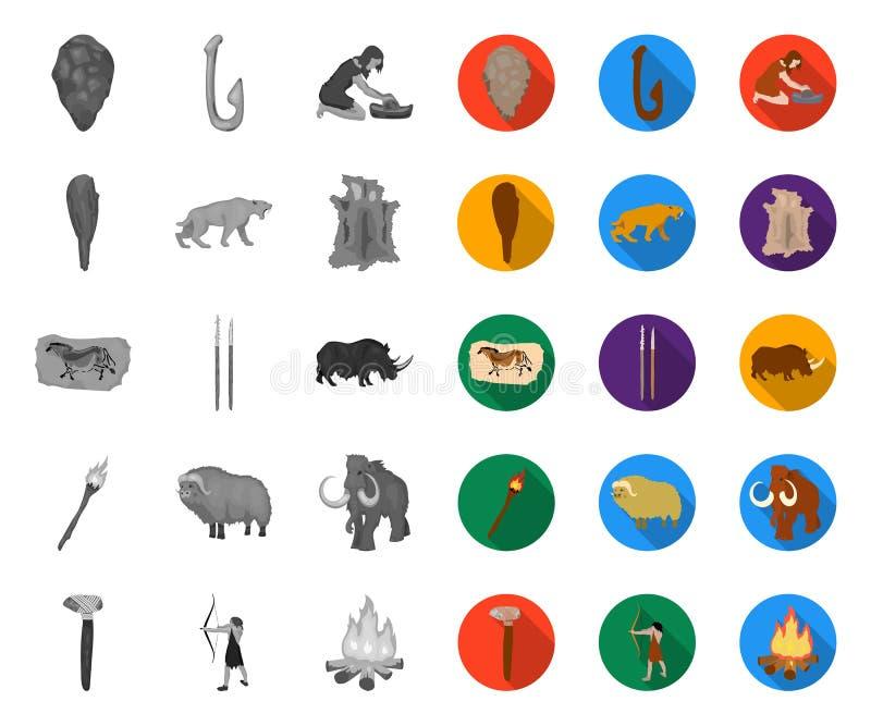 Leben in Stone Age mono, flache Ikonen in gesetzter Sammlung für Entwurf Vektorsymbolvorrat-Netzillustration der alten Leute lizenzfreie abbildung