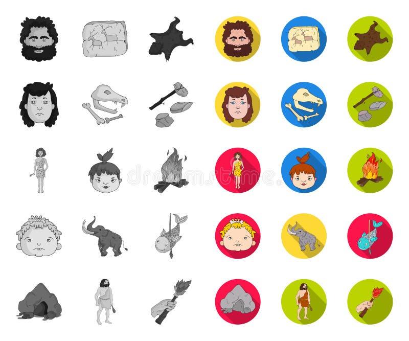 Leben in Stone Age mono, flache Ikonen in gesetzter Sammlung f?r Entwurf Vektorsymbolvorrat-Netzillustration der alten Leute stock abbildung