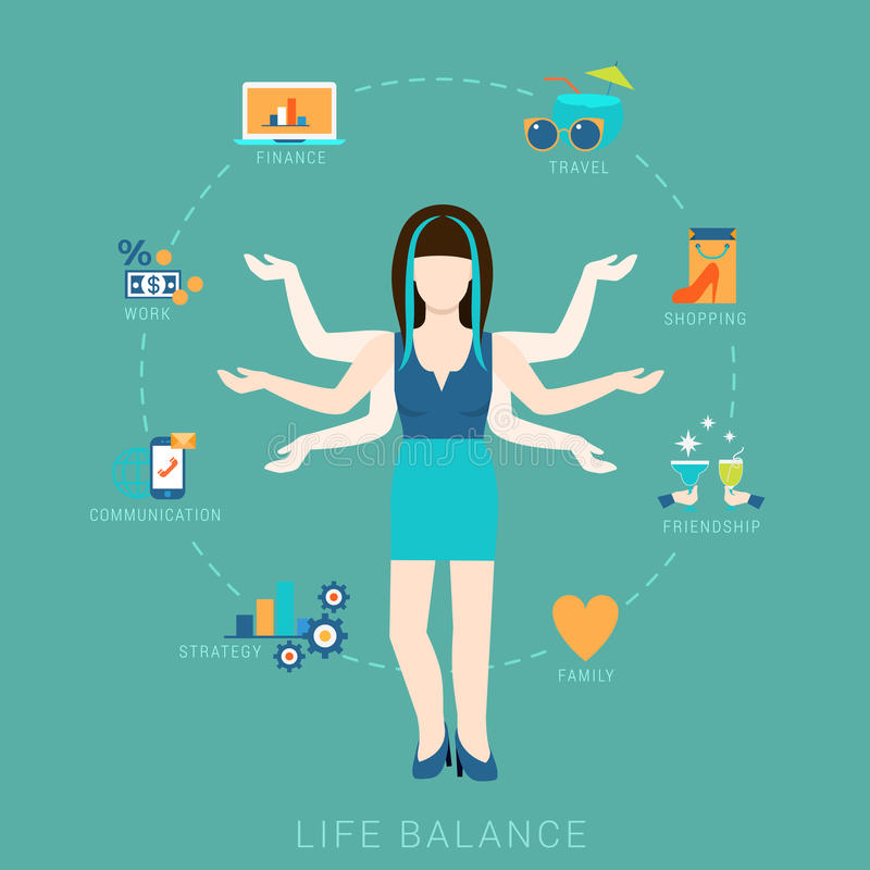 Lebenbalancenfrauen-Lebensstilvektor flach infografic: Ikonen lizenzfreie abbildung