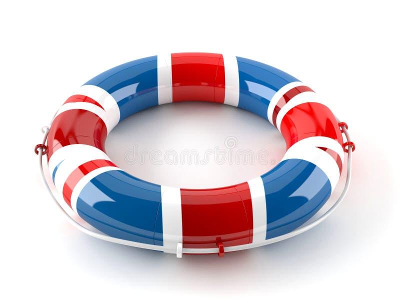 Lebenboje in der britischen Flagge stock abbildung
