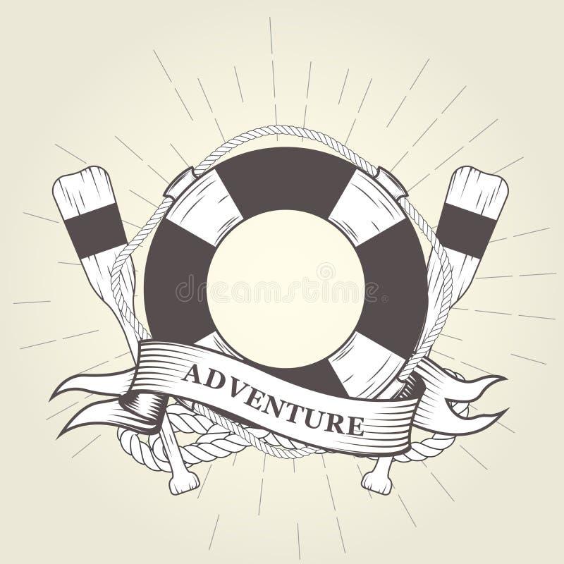 Lebenboje, Ruder und Seil - Emblem vektor abbildung