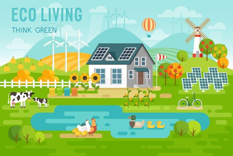 Lebende Landschaft Eco mit Öko-Haus- und Vieh stock abbildung
