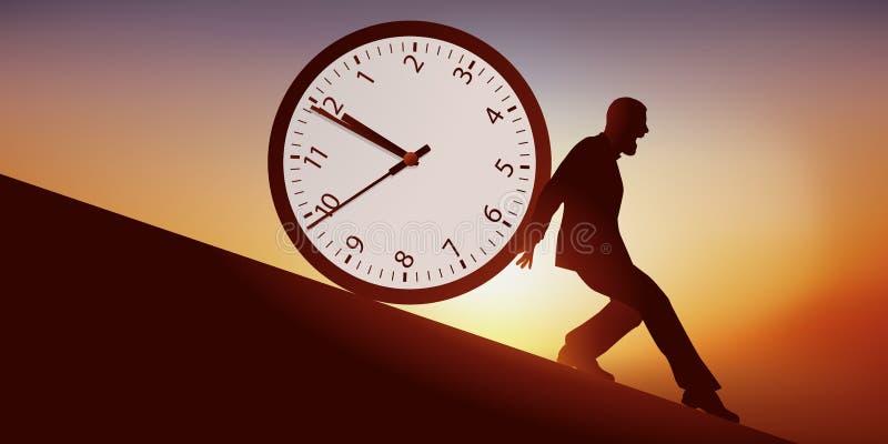 Lebensanschauung geschehend mit einem Mann, der versuchte, Stillstandszeit zu verlangsamen stock abbildung