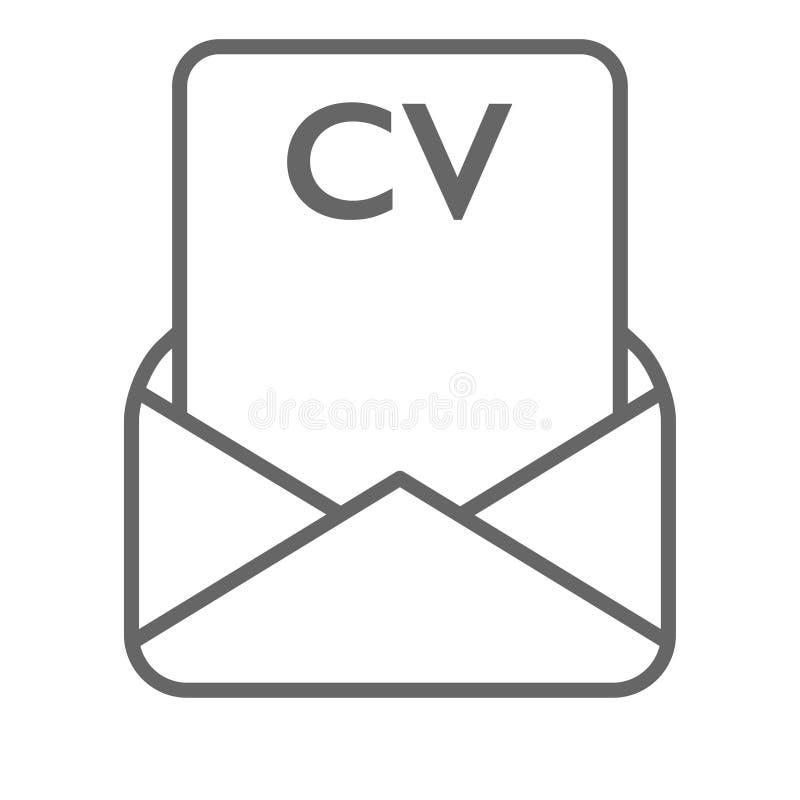 Lebenslauf empfing über E-Mail geöffneten Umschlagvektor lizenzfreie abbildung