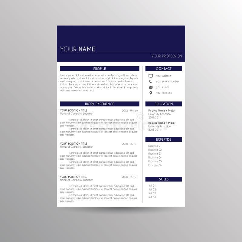 Lebenslauf-/Zusammenfassungsschablone lizenzfreie abbildung