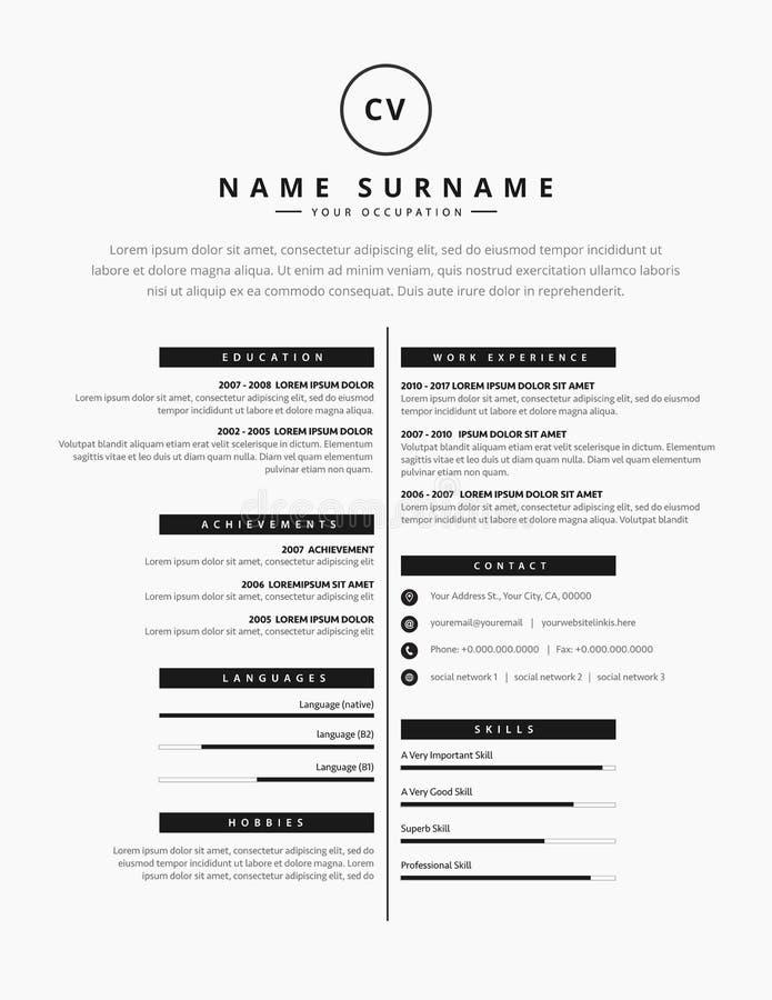 Lebenslauf-Zusammenfassungsschablonendesign für eine kreative Person - Vektor lizenzfreie abbildung