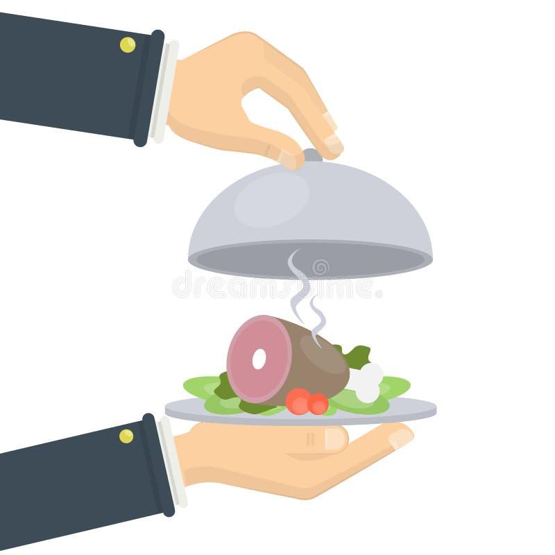 Lebensmittel auf Behälter lizenzfreie abbildung