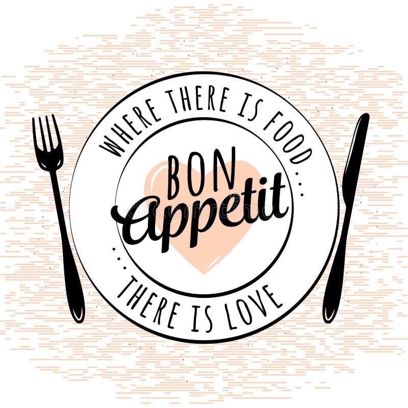 Lebensmittel bezogenes Küchentypographiezitat Bon Appetit Weinlesevektoremblem und -Gestaltungselemente Retro- typografisches lizenzfreie abbildung