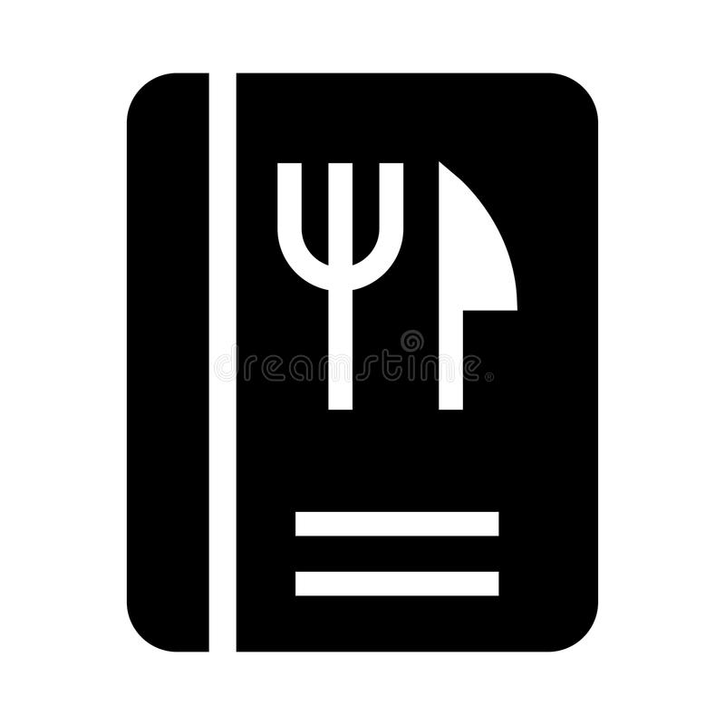 Lebensmittel-Buch Glyphsikone vektor abbildung