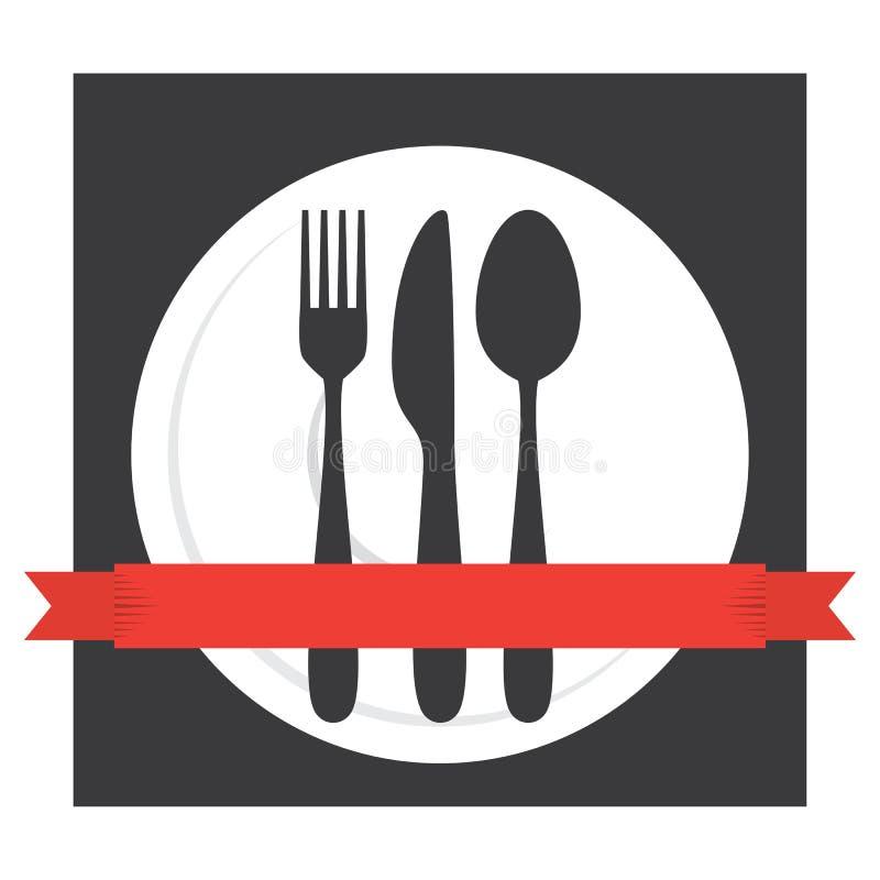 Lebensmittel-Café-Tischbesteck-Logo lizenzfreie abbildung