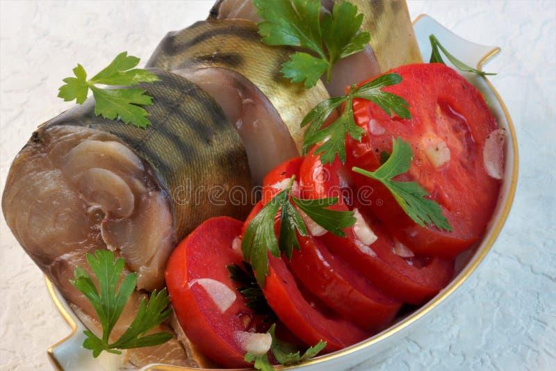 Lebensmittel der geräucherten Makrele, sehr geschmackvolle und gesunde Zartheit lizenzfreies stockbild