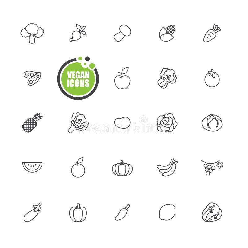 Lebensmittel des strengen Vegetariers und des Vegetariers, Gemüse- und Fruchtikonen zeichnen Satz lizenzfreie abbildung